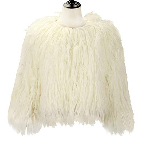Dikoaina Women's Solid Color Shaggy Faux Fur Coat Jacket (US12, White) ()