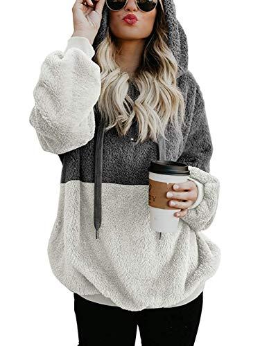 Famulily Womens Fleece Hoodies Casual Cozy Chunky Color Block Autumn Oversized Fuzzy Zipper Sweatshirt Loose Sweater Outwear with Pockets Dark Grey M