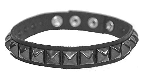 Leather Gun Metal Studded Armband Fetish Rock Queen Mercury 3 Snap Gear ()