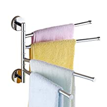 Silver Wall-Mounted Towel Rack - 2/3/4-Arm Stainless Steel Swivel Bars for Bathroom - Space Saving Hanger Holder Organizer Polished Chrome (4-Arm)