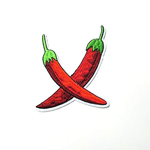 (Red Chili Pepper Patch Iron-On/Sew-On Embroidered Applique Motif, Cook)
