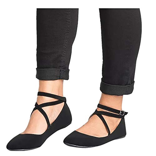Shoes for Women Round Toe Platform Strap Flat Heel Buckle Leopard Sandals (Black -7, -