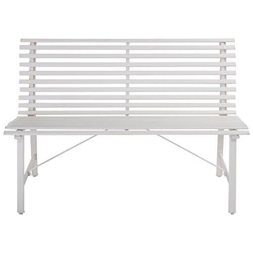 Bench Slat Back (AK Energy Heavy Duty Steel Outdoor White Gray Park Garden Bench Slat Back Seat Furniture Slat Style)