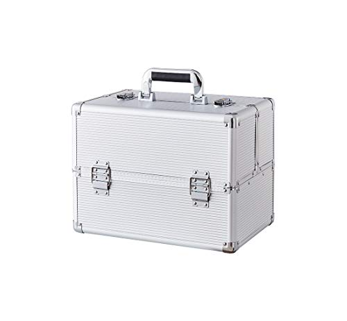 Makeup Case - Professional Portable Aluminum Cosmetics Storage Box With Locks and Folding Trays ()