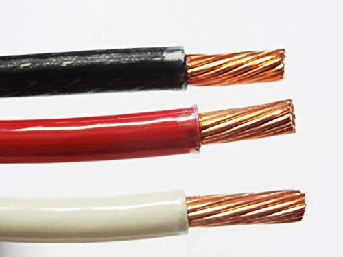 50' EA THHN THWN 6 AWG Gauge Black White RED Stranded Copper Building Wire