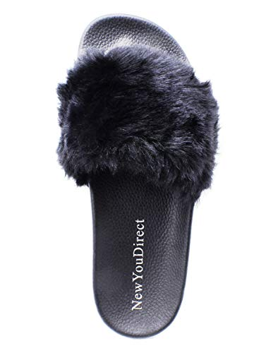 NewYouDirect Fur Slides for Women,Fuzzy Sandals Slippers Flip Flop Furry Slides Soft Flat for Indoor Outdoor