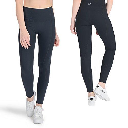 Yunoga High Waist Women Yoga Pants,4 Way Stretch Workout Leggings Tummy Control(Black, Medium)