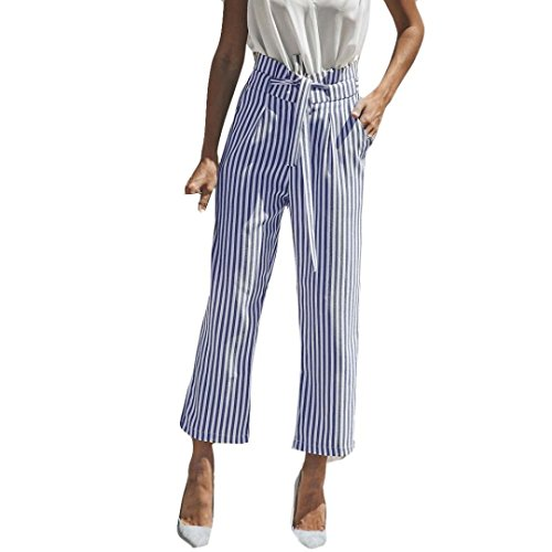 (NEWONESUN Crop Pants for Women Stripe Print Mid Waist Casual Loose Bandage Ankle-Length Lady Trousers)