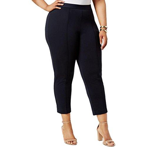 Size Jeans Michael Kors Plus (MICHAEL Michael Kors Womens Plus Knit Seamed Cropped Pants Navy 22W)