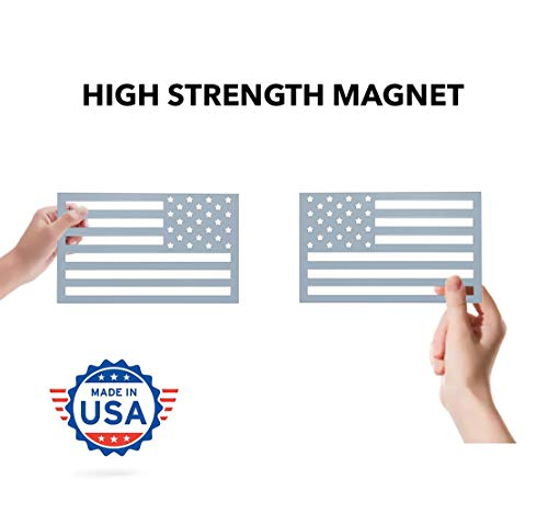 American Flag Magnet Cut-Out - Set of 2 Tactical Car Decal Magnets Made in USA (Metallic Gray) - Gray Car Flag