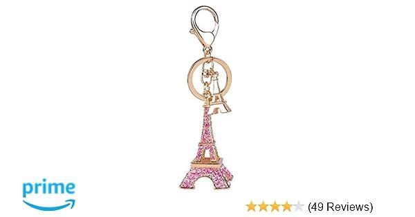 Cute Adornment 3d Eiffel Tower French Souvenir Paris Keychain Keyring (Eiffel Tower-Pink)