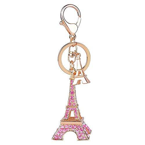 Cute Eiffel Tower Keyring 3D Rhinestone French Retro Souvenir Paris Keychain Adornment Keyring Lovely Decorative Metal Craft Art Statue Model for Table Decor Gifts (Eiffel Tower-Pink)