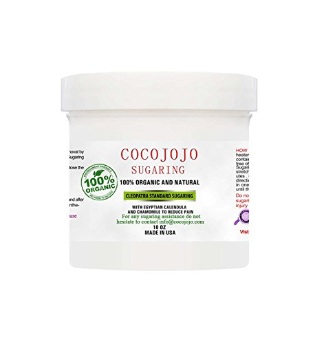 10 Oz Cocojojo Sugaring Hair Removal Sugar Wax 100% Natural Paste - 100% Organic and Natural with Egyptian Calendula and Chamomile - Epilation Waxing - Sugaring Hair Remover - Sugaring Gel