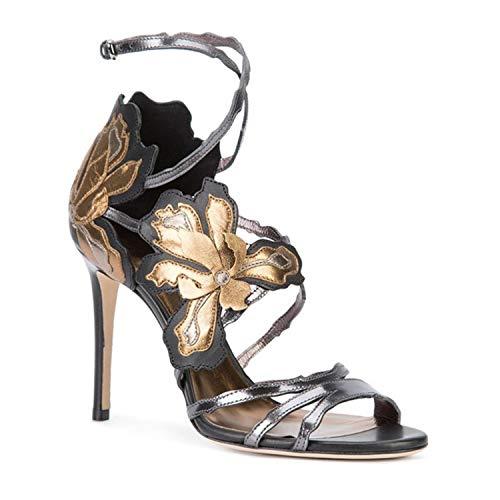 Bal Bar Cm Ouvert Soirée Gray Femmes Chaussures Bande Stilettos De Sandales Hauteur De Du De Banquet Tête Mots Régulier Talon Bout 12 Robe Fleur Ronde qqSPUF