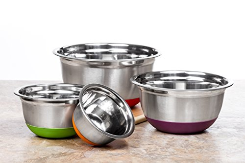 4 Pc Chef Quality Stainless Steel Mixing Bowls w/ Colorful Silicone Bottoms - Prep Bowls or Mixing Bowl Set w/ Non Skid Base