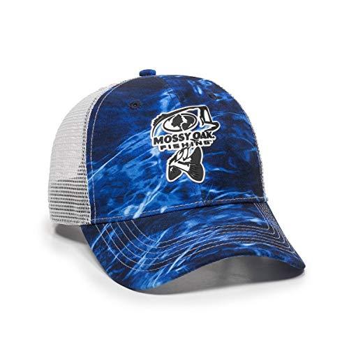 - Mossy Oak Elements Mesh Back Fishing Hats (Agua Marlin/White (Rubber Patch))