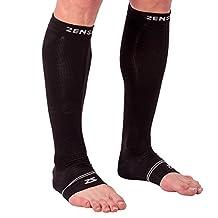 Zensah Compression Ankle/Calf Sleeves - Relieve Plantar Fasciitis, Improve Circulation, Decrease Leg Fatigue, Alleviate Shin Splints