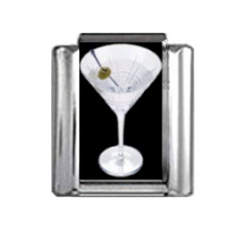 - Stylysh Charms Cocktail Martini Olive Photo Italian 9mm Link NC145