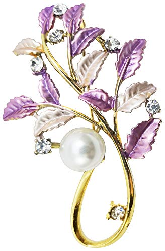 (Bijoux De Ja Gold Tone Enamel Rhinestone Faux Pearl in Bunch of Leaves Design Brooch Pin (Purple))