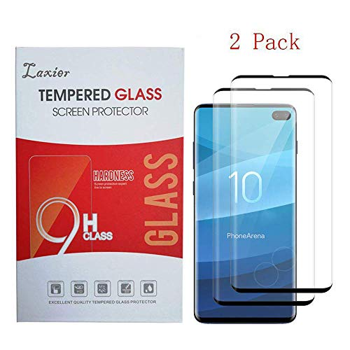 2 Pack of Galaxy S10 Plus Tempered Glass Screen Protector, Case Friendly Full Coverage Saver Protective Cover Clear Film for Samsung Phone S10+ (not for S 10 and S 10E) (S10 Plus)