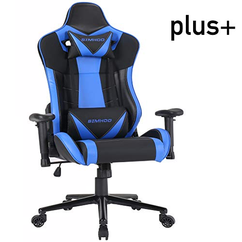 SIMHOO Gaming Chair High-Back Computer Chair Ergonomic Backrest and Seat Height Adjustment Recliner Swivel Rocker with Headrest and Lumbar Pillow Massage Extra Large E-Sports Chair Blue Uncategorized