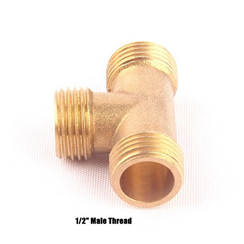 1Pcs Brass 1/2 Male 3 Way Hose Equal Tee Connector Garden Irrigation Watering Metal Adapter Gas Pipe Fittings 1/2''