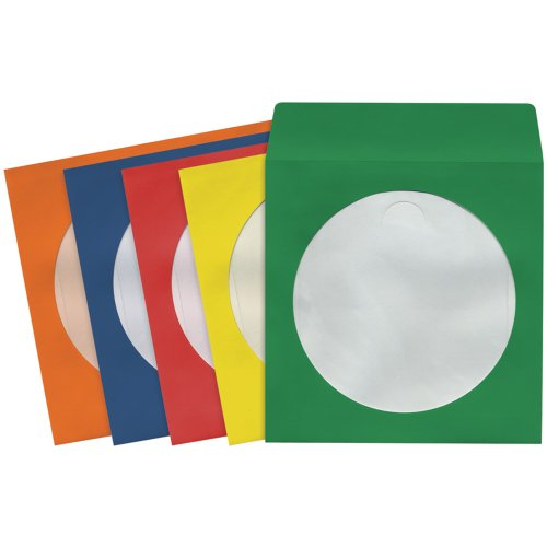 1 - CD/DVD Storage Sleeves (100 pk; Colors), Heavy-duty paper with clear plastic window, Fits 12cm formats, 190132 - CD403