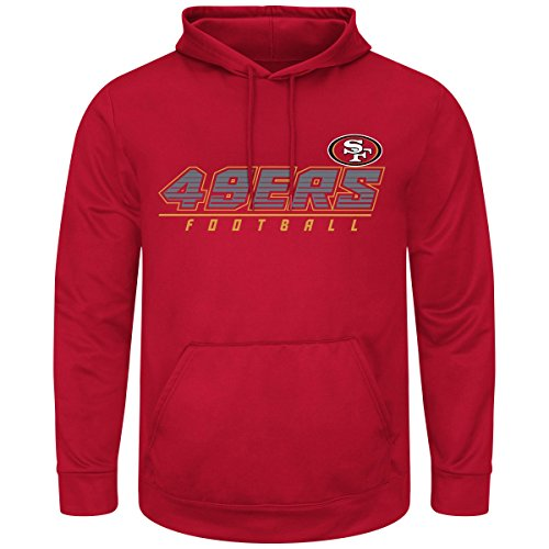 Majestic San Francisco 49ers Mens Cardinal Punt Return Synthetic ThermaBase Sweatshirt (Therma Base Red Fleece)
