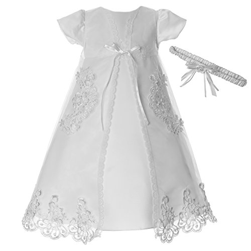 Lauren Madison Baby Girls' Christening Baptism 3 Piece Organza Dress with Separate Coat, White, 9-12 Months