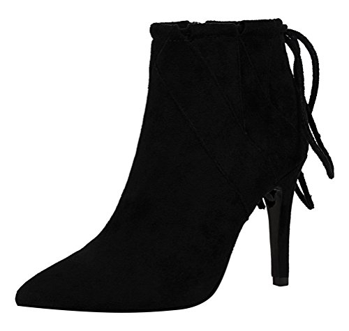 T&Mates Womens Elegant Retro Pointy Toe Zipper Ankle Lace-up High Heeled Suede Ankle Booties (6 B(M)US,Black)