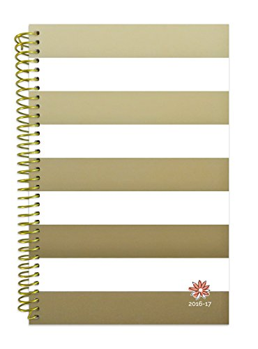 "bloom daily planners 2016-17 Academic Year Daily Planner (+) Passion/Goal Organizer (+) Fashion Agenda (+) Weekly Diary (+) Monthly Datebook Calendar (+) August 2016 - July 2017 (+) 6"" x 8.25"" - Gold Stripes"