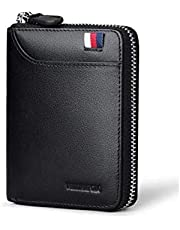 William Polo Black Leather For Men - Zip Around Wallets