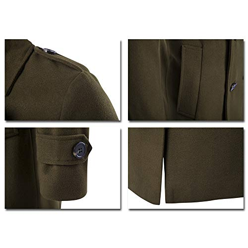 Collar Verde De Ropa Ajustada Chaqueta Informal Doble Abrigo Gabardina Hombre Botonadura Xfentech Vuelta xw0qUSZCC