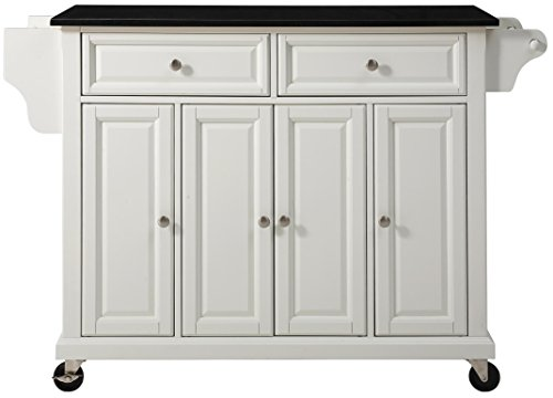 (Crosley Furniture Rolling Kitchen Island with Solid Black Granite Top - White)