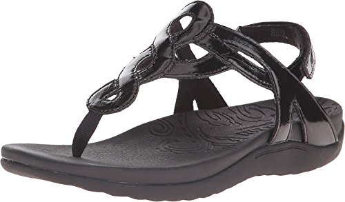 Rockport Cobb Hill  Women's Ramona-CH Flat Sandal,  Black Patent, 7.5 M US