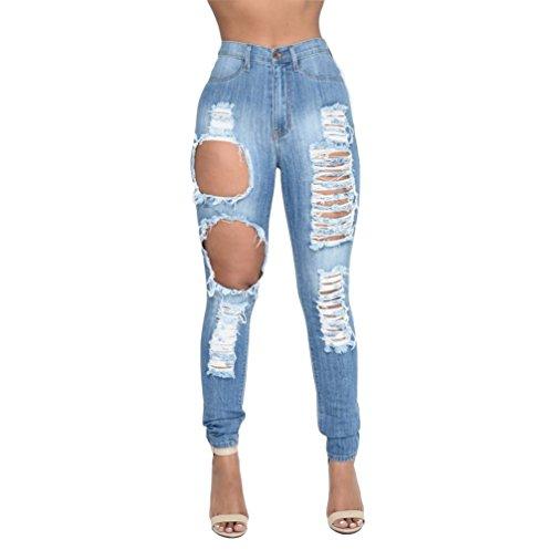 Jeans Jeans Jeans d't Jean Zip Pantalons Trous Skinny Taille Oudan Bleu Haute Jean Skinny avec Hipster Jeans F8wOxE