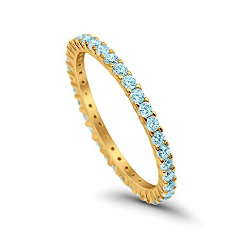 (2mm Full Eternity Band Ring Round Simulated Blue Aquamarine CZ Yellow Tone Plated 925 Sterling Silver, Size-8)