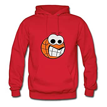 Women Unofficial Chic Erinwood X-large Customizable Basketball_face4 Red Hoody