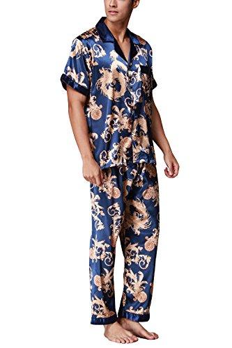 Uomo Dolamen Raso Per Retro Blu Da Primavera Pigiama Stampa Coppie Collare Con Camicia Controllare Bottoni Estate Pocket Notte Lunga qwtq4WRr