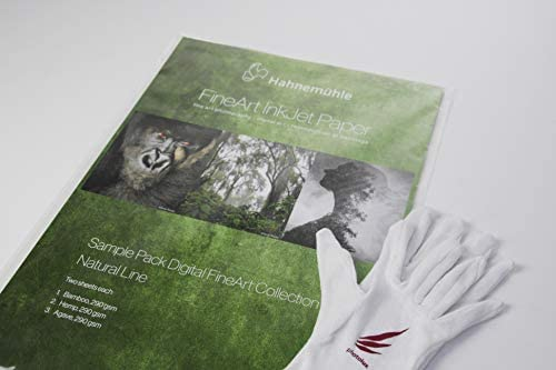 Hahnemühle Natural Line Inkjet Fine Art Papier Sample Pack A3+ ink. Photolux Handschuhe