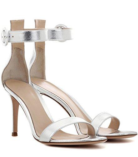 Soireelady Womens High Heel Ankle Strap Sandals Open Toe Summer Dress Shoes Silver wLBFa9jvbM