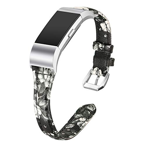 bayite Bands Compatible Fitbit Charge 2, Slim Genuine Leather Band Replacement Accessories Strap Charge2 Women Men, Black/Gray Floral Large