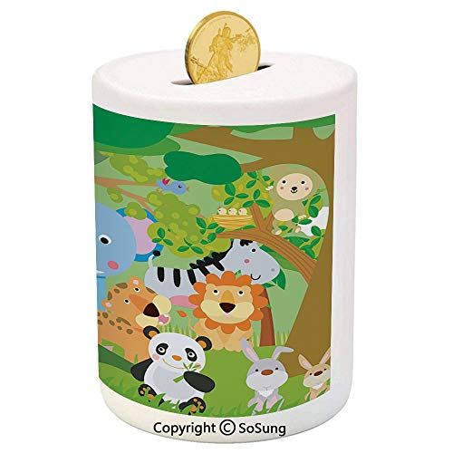 (SoSung Nursery Ceramic Piggy Bank,Funny Playful Jungle Animals Wildlife Mammals Trees Flowers Colorful Cute Nature 3D Printed Ceramic Coin Bank Money Box for Kids & Adults,Multicolor)
