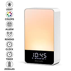 Marrado Shake Snooze Sunrise Alarm Clock - Shake On Night Light - Multiple Nature Sounds Sunrise Wake up Simulation - Digital LED Clock with 9 Color Switch and for Bedrooms
