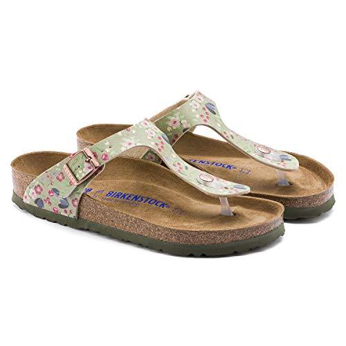 (Birkenstock Unisex Gizeh Soft Footbed Birko-Flor Khaki Sandals 10 W / 8 M US)