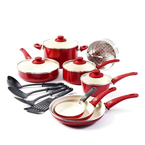 (GreenLife Soft Grip 16pc Ceramic Non-Stick Cookware Set, Red)