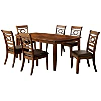 Furniture of America Reminson 7-Piece Dining Table Set with 18-Inch Expandable Leaf, Brown Cherry Finish