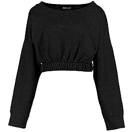 CHOCOLATE PICKLE New Womens Long Sleeve Cuffed Elastic Waisted Hem Sweatshirt Crop Top 8-14