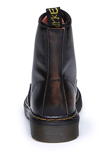 uBeauty - Martin Boots - Womens Leather Boots - Classic Ankle Boots - Big Size Boots - Ladies Lace Up Shoes Brown Velvet SWDY5K