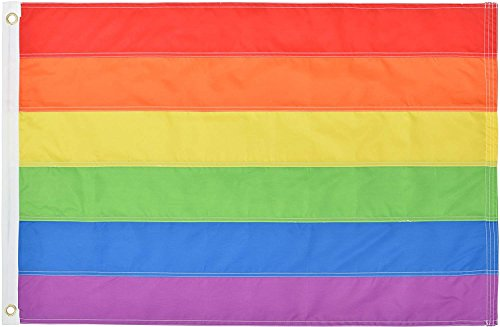 Green Grove Products Rainbow Flag 2' x 3' Ft 210D Nylon Premium Outdoor Gay Pride Flag ()